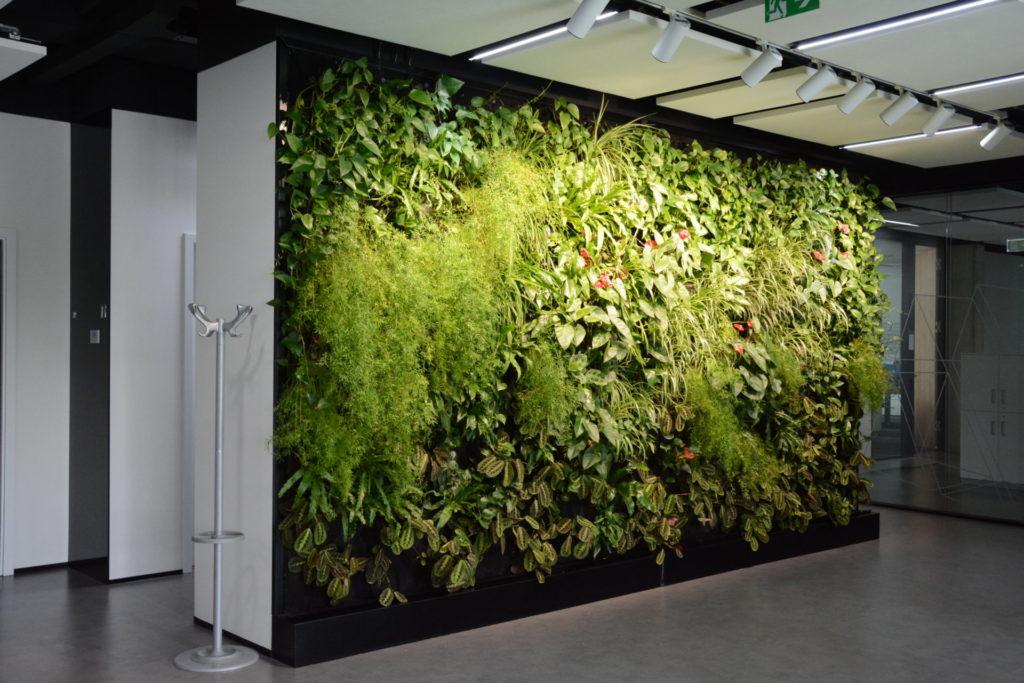 Pestrá vertikální zelená stěna uvnitř budovy